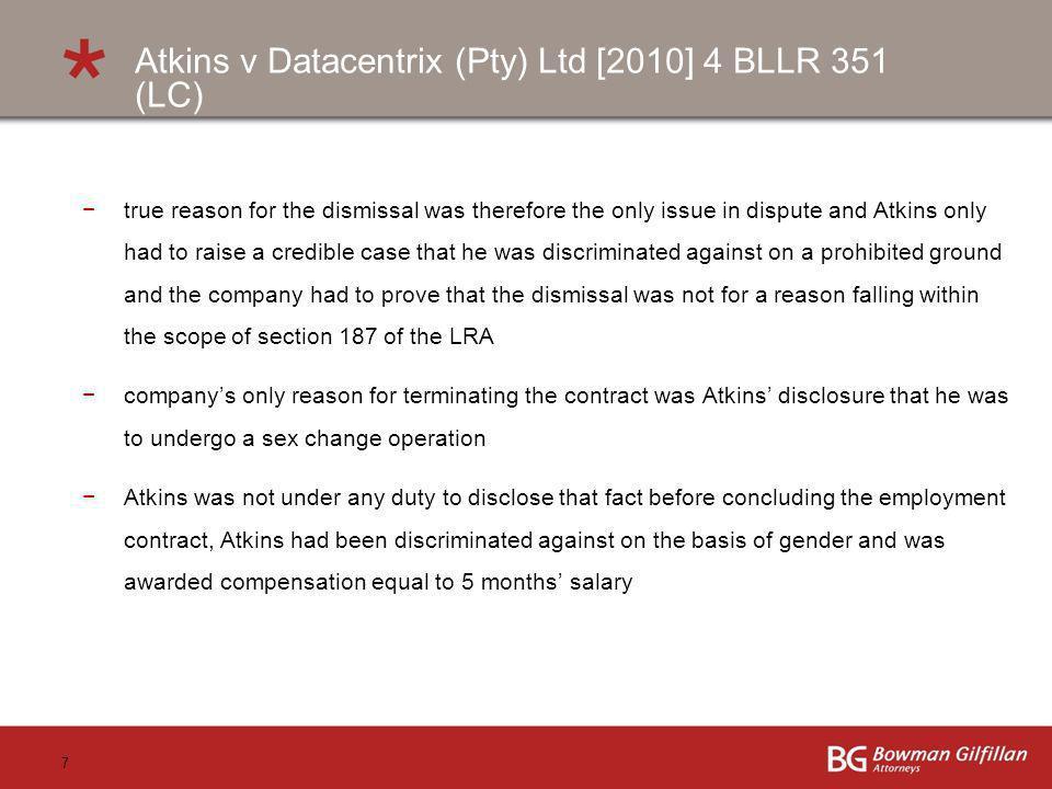 Atkins v Datacentrix (Pty) Ltd [2010] 4 BLLR 351 (LC)